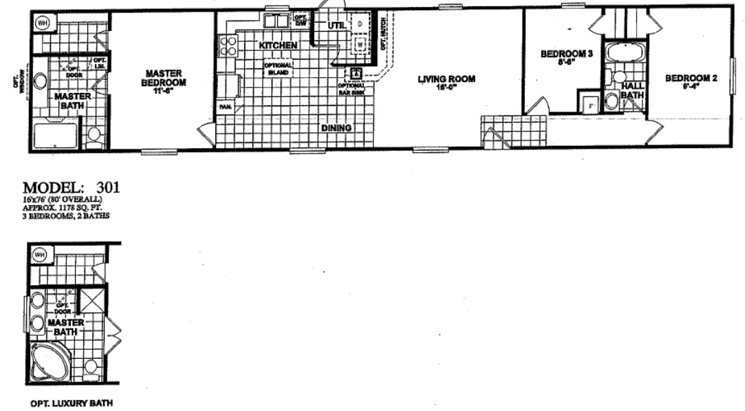 Single wide mobile home floor plans 3 bedroom for One level modular homes