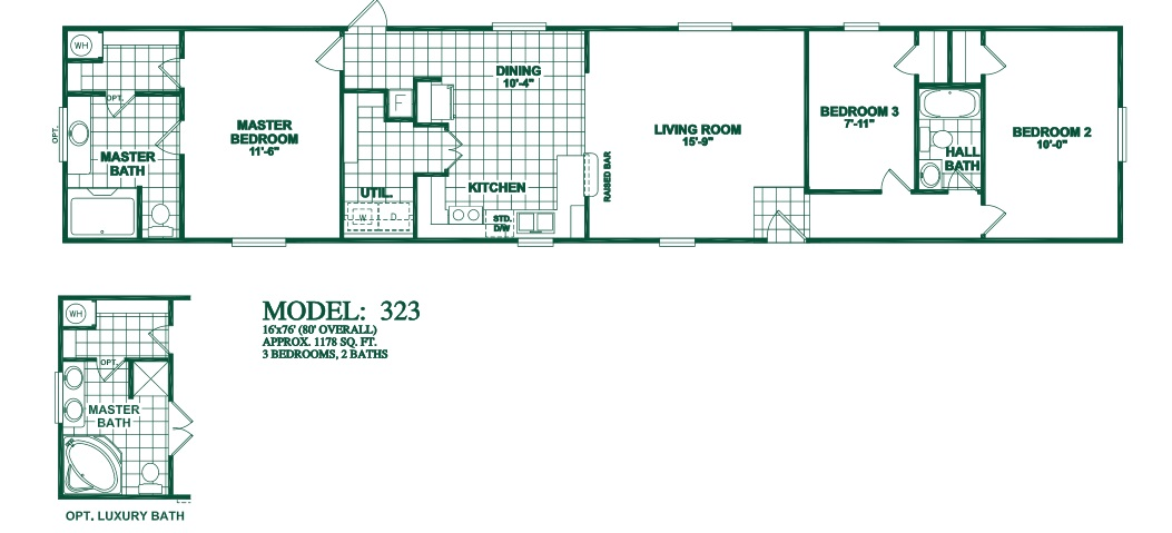 Floorplans photos oak creek manufactured homes for 3 bedroom 2 bath double wide floor plans