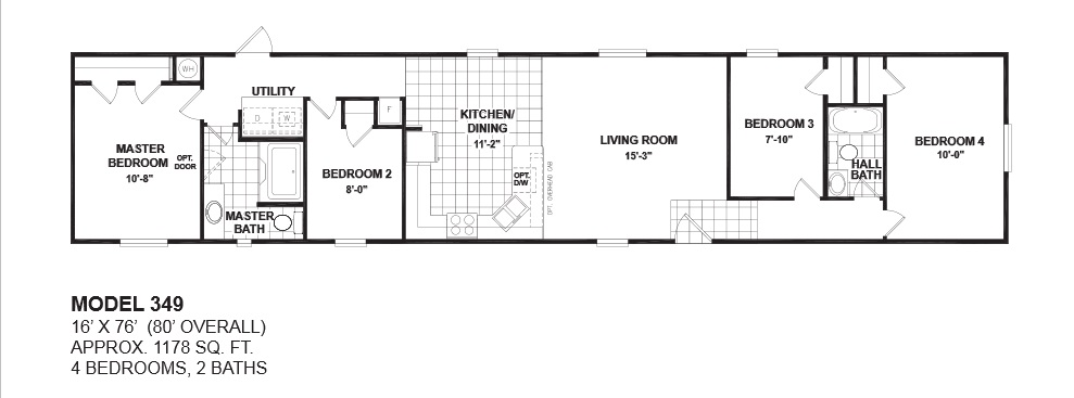 Floorplans photos oak creek manufactured homes for 2 bedroom mobile home floor plans