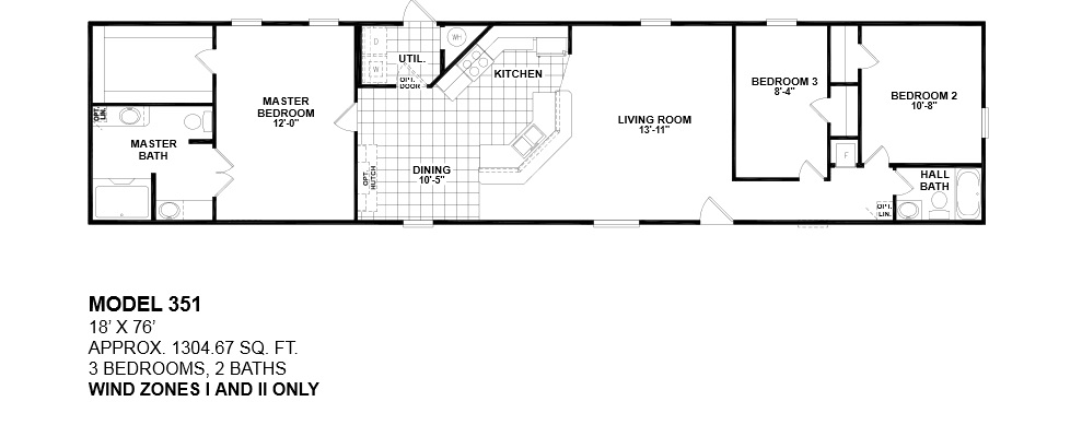 Floorplans photos oak creek manufactured homes for 1 bed 1 bath mobile homes