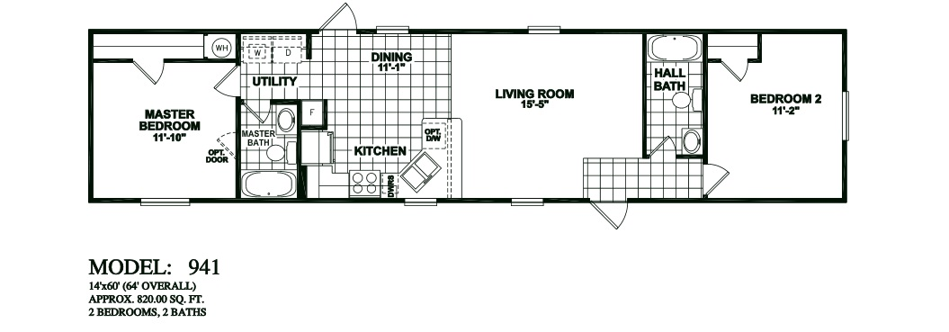 model 941 14x60 2bedroom 2bath oak creek mobile. floorplans photos oak creek manufactured homes   Manufactured