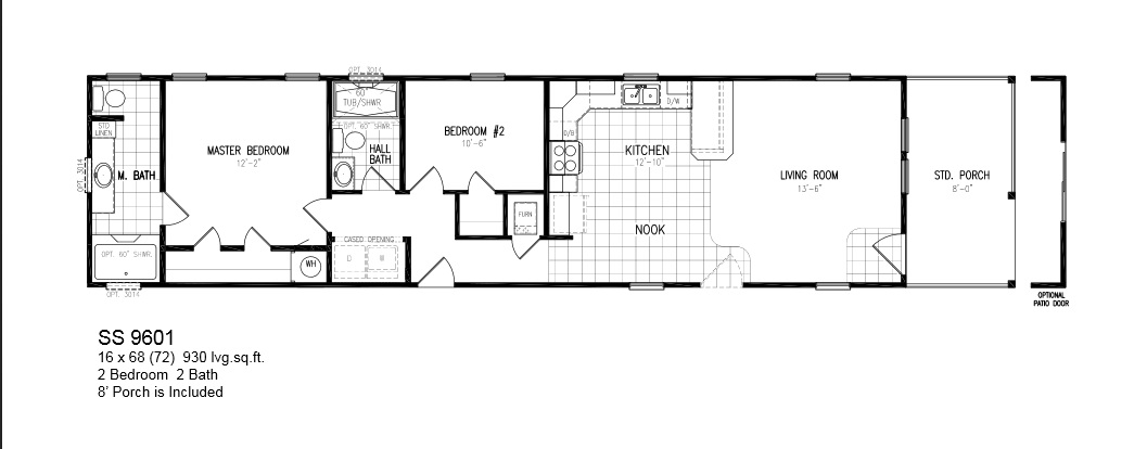 Floorplans photos oak creek manufactured homes for Mobile home plans with porches